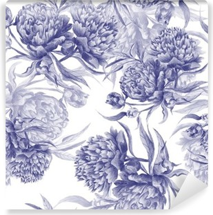 Carta da Parati in Vinile Grisaille Acquerello Peony Texture