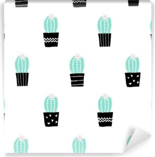 Carta da Parati in Vinile Hand Drawn Cactus pattern