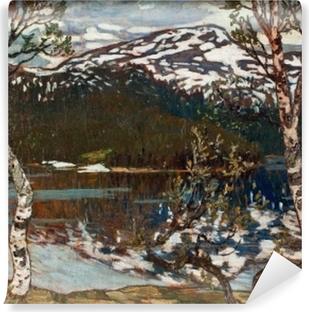 Carta da Parati in Vinile Helmer Osslund - Giornata primaverile sul lago Rensjön nelle vicinanze di Åre