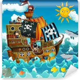 Carta da Parati in Vinile I pirati sul mare - illustrazione per i bambini