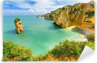 Carta da Parati in Vinile Idilliaco paesaggio spiaggia a Lagos, Algarve (Portogallo)