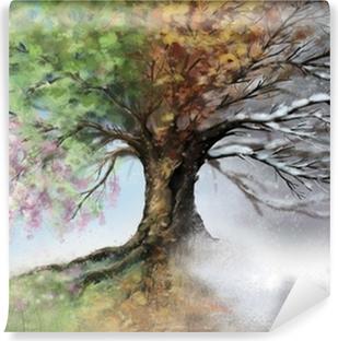 Carta da Parati in Vinile Illustrazione digitale di albero di quattro stagioni