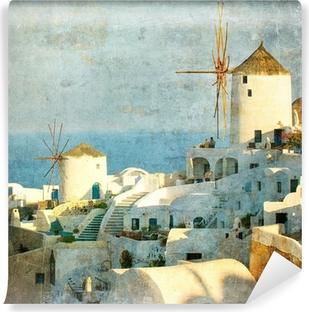 Carta da Parati in Vinile Immagine d'epoca di Oia villaggio isola di Santorini, Grecia