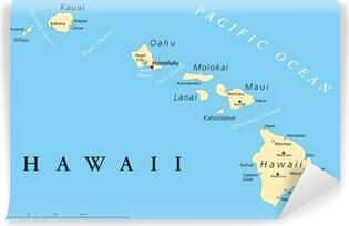 Carta da Parati in Vinile Isole Hawaii Mappa Politica