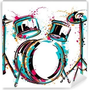Carta da Parati in Vinile Kit tamburo con spruzzi in stile acquerello. Colorful illustrazione vettoriale mano disegnato