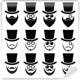 Carta da Parati in Vinile L  39 uomo con cappello con barba e occhiali 75fdf43c99e4