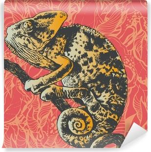 Carta da Parati Lavabile Astratto floreale con camaleonte