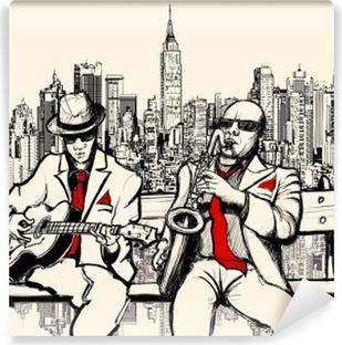 Carta da Parati Lavabile Due uomini che giocano jazz a New York