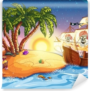 Carta da Parati Lavabile Illustrazione di isola del tesoro e la nave dei pirati