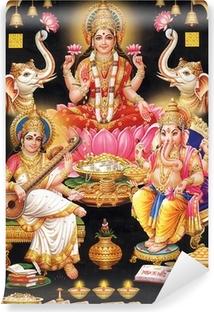 Carta da Parati Lavabile INDIAN MAA LAKSHMI dea CON MAA Saraswati e GANESH JI