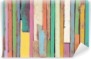 Carta da Parati Lavabile La grafica colorata dipinta su materiale di legno per lo sfondo carta da parati vintage.