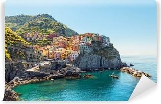 Carta da Parati Lavabile Manarola. Costa delle Cinque Terre in Italia.