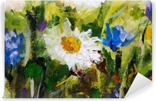 Carta da Parati Lavabile Pittura a olio originale di fiori, belli fiori di campo su tela. Modern Impressionism.Impasto opere d'arte.
