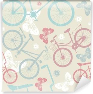 Carta da Parati Lavabile Seamless pattern con biciclette e retrò cute farfalle