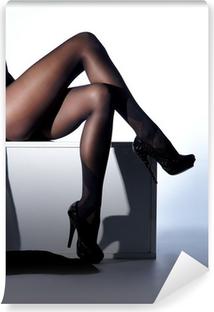 Carta da Parati Lavabile Sexy gambe femminili in calze erotici neri e tacchi alti