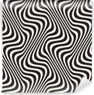 Carta da Parati in Vinile Linee ondulate illusione ottica. Vector Seamless Black and White Pattern.