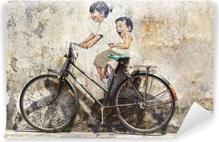 """Carta da Parati in Vinile """"Little Children in bicicletta"""" Mural."""
