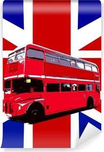 Carta da Parati in Vinile London Bus Con Regno Unito Bandiera