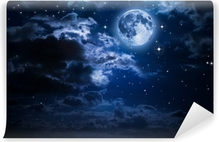 Carta da Parati in Vinile Luna e le nuvole nella notte