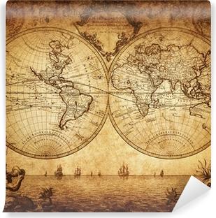 Carta da Parati in Vinile Mappa d'epoca del mondo 1733