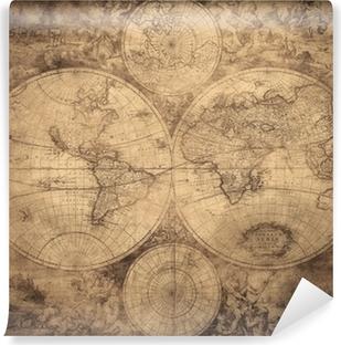 Carta da Parati in Vinile Mappa d'epoca del mondo intorno al 1675-1710