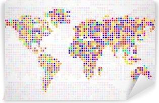 Carta da Parati in Vinile Mappa del mondo astratto dai pixel colorati. Vettore