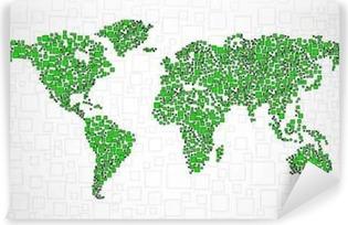 Carta da Parati in Vinile Mappa del mondo astratto dal quadrato, sfondo stile