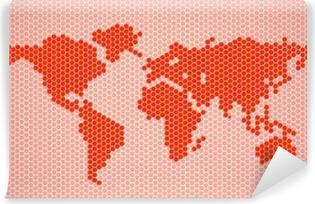 Carta da Parati in Vinile Mappa del mondo astratto di esagoni