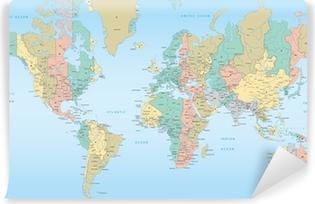 Carta da Parati in Vinile Mappa del mondo con fusi orari