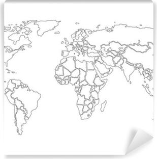 Carte da parati disegno di contorno pixers viviamo - Mappa del mondo contorno ks2 ...