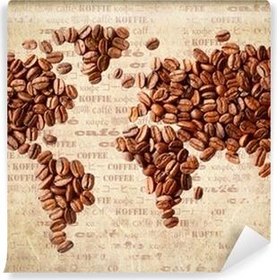 Carta da Parati in Vinile Mappa del mondo di chicchi di caffè