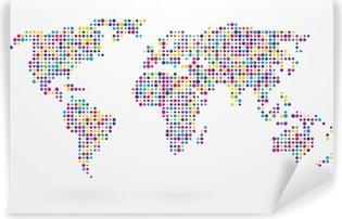 Carta da Parati in Vinile Mappa del mondo fatto di piccoli puntini colorati