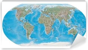 Carta da Parati in Vinile Mappa del mondo i confini fisici