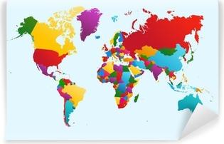 Carta da Parati in Vinile Mappa del mondo, i paesi colorato eps10 file vettoriale.