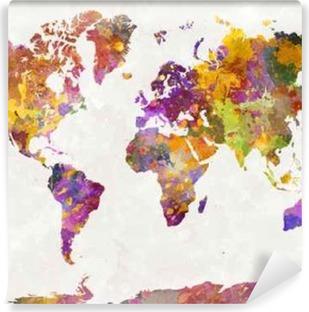 Carta da Parati in Vinile Mappa del mondo in acquerello