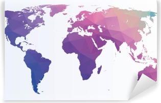 Carta da Parati in Vinile Mappa del mondo poligonale