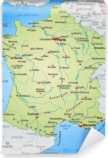 Carta da Parati in Vinile Mappa della Francia con i paesi vicini