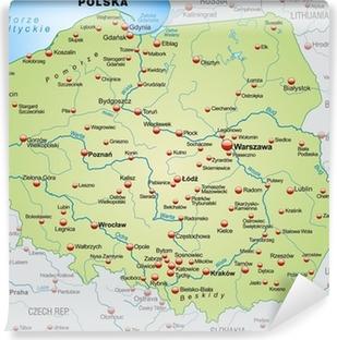 Carta da Parati in Vinile Mappa della Polonia con i paesi vicini