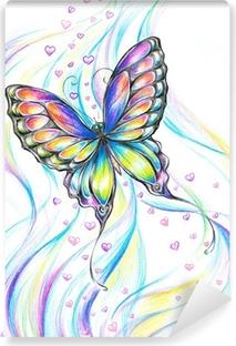 Carta Da Parati Dipinto Di Blu Farfalla A Mano Pixers Viviamo