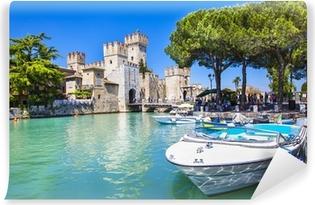 Carta da Parati in Vinile Medieval castle Sirmione on lake Lago di Garda
