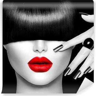 Carta da Parati in Vinile Modella Ragazza con Trendy Acconciatura, Trucco e manicure