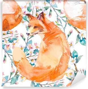Carta da Parati in Vinile Modello della fauna selvatica. Fox e rami fioriti. .