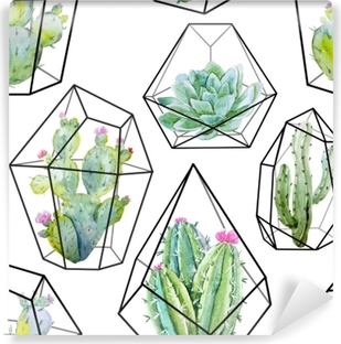 Carta da Parati in Vinile Modello di cactus di vettore dell'acquerello