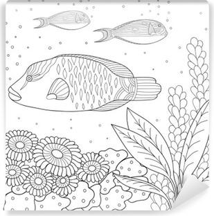 Carta Da Parati Modello Doodle In Bianco E Nero Modello Marine Per