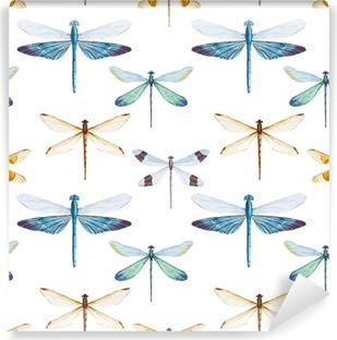 Carta da Parati in Vinile Modello libellule acquerello
