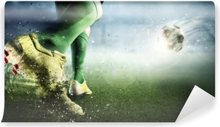 Carta da Parati in Vinile Momento dell'obiettivo di calcio. mezzi misti