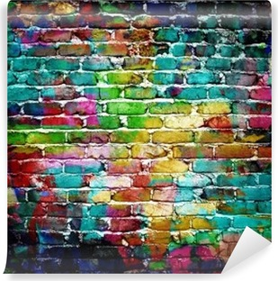 Carte da parati graffiti pixers viviamo per il for Carta da parati muro di mattoni