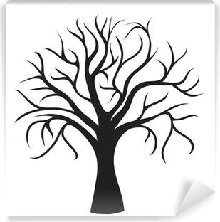 Carta da Parati in Vinile Nero albero senza foglie
