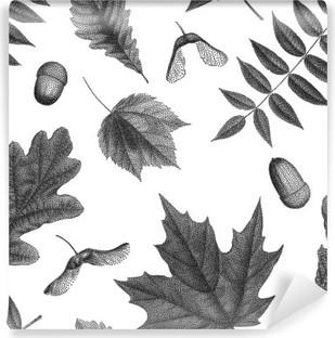 Carta da Parati in Vinile Nero vendemmia, incisione di foglie di autunno