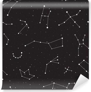 Carta da Parati in Vinile Notte stellata, seamless, fondo con stelle e costellazioni, illustrazione vettoriale
